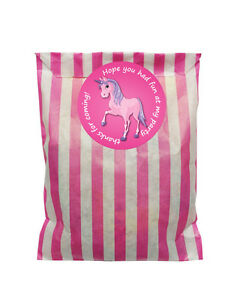 Pink-amp-white-paper-party-bags-amp-60mm-Pink-unicorn-stickers-24-of-each-in-pack
