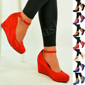Ladies-Womens-Wedge-Pumps-Ankle-Strap-High-Heels-Platform-Party-Shoes-Size-Uk