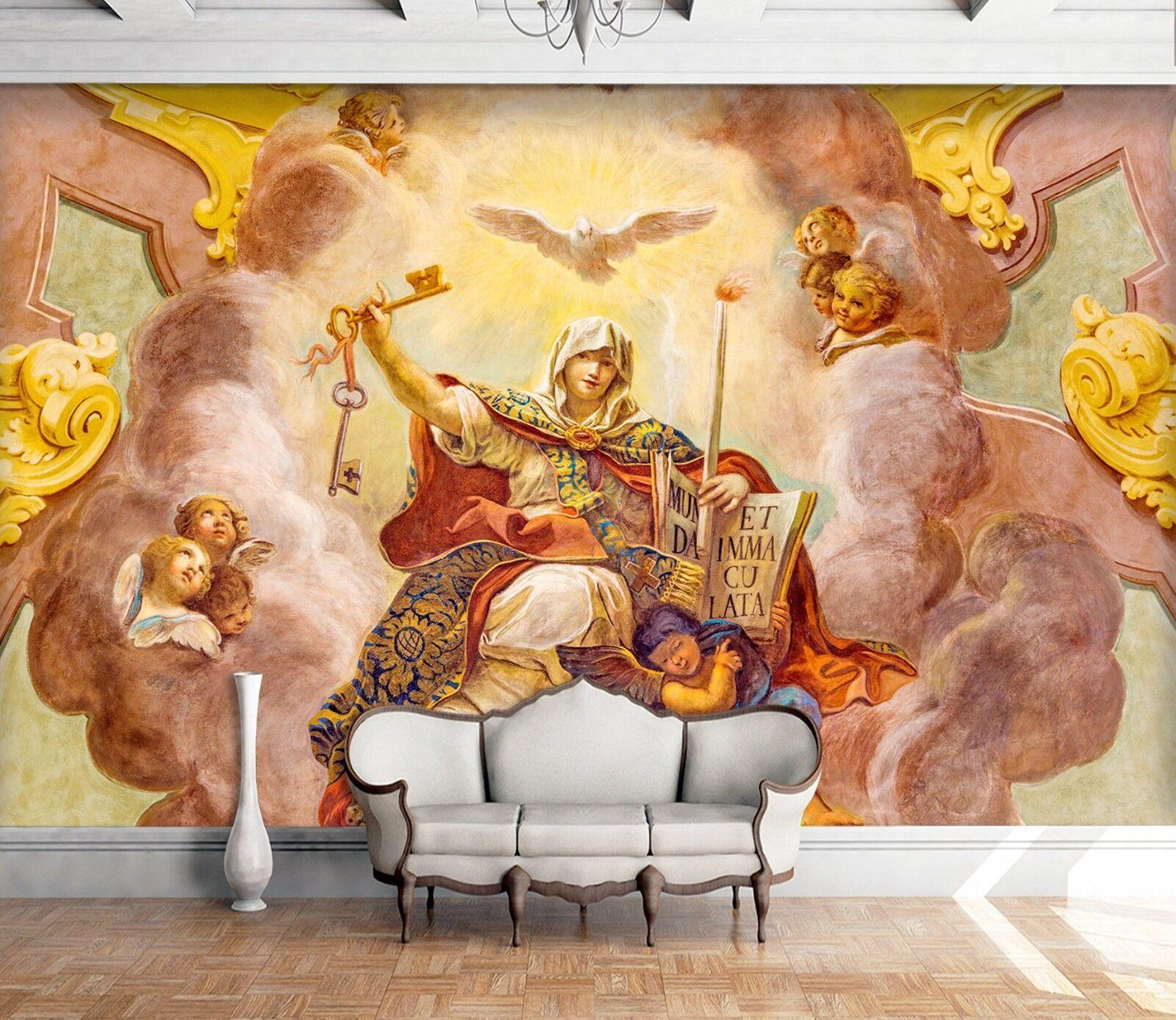3D Angel Classroom Oil Painting 1 Wallpaper Mural Wall Print Decal Indoor Murals