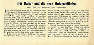 Sammeln & Seltenes Der Kaiser Und Die Neue Automobilbahn...kaiserl Automobilklub Textdokument 1907 Verpackung Der Nominierten Marke
