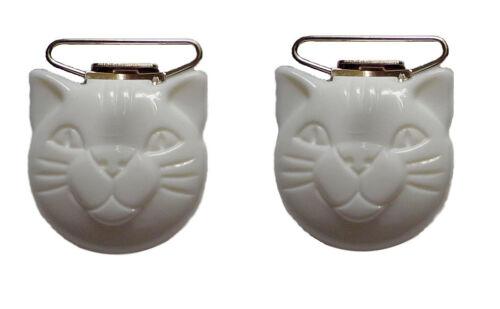 Kinderhosenträgerclip Katzengesicht 25 mm weiß 2 Stück