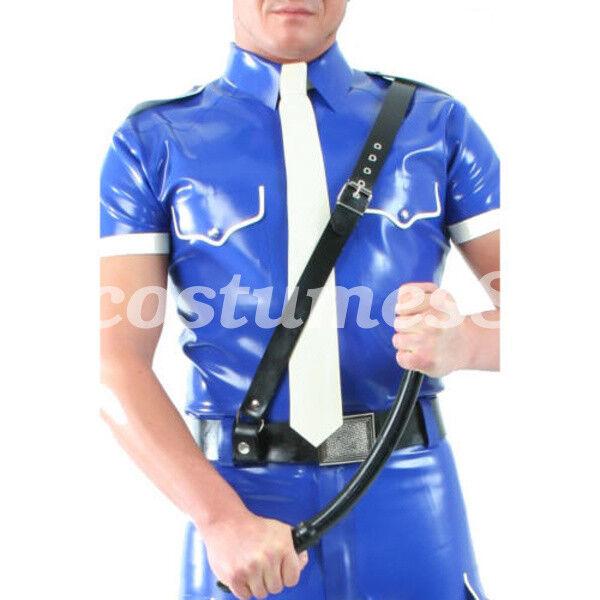 Latex uniforms 100% Rubber Men Navy Blau Police Bodysuit Uniform Suit   S-XXL