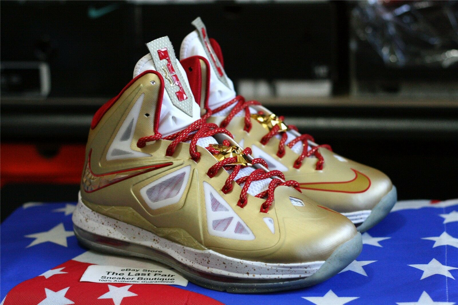 reputable site a1fa3 61b4d DS NIKE LEBRON X RING CEREMONY PROMO SAMPLE 7.5 7.5 7.5 GOLD RED PE MVP  CHAMPIONSHIP. Mens Red Air Jordans retro ...