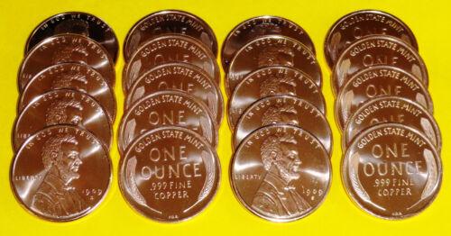 50 New 1909 Lincoln Cent Coins • 1 oz each .999 Copper Bullion