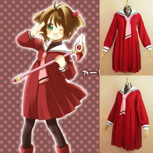 Cardcaptor Sakura Herorine School Uniform Cosplay Costume Red Winter Sailor Suit