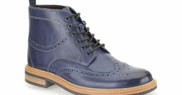Clarks Mens DARBY RISE BLUE LEATHER SMART & TRENDY