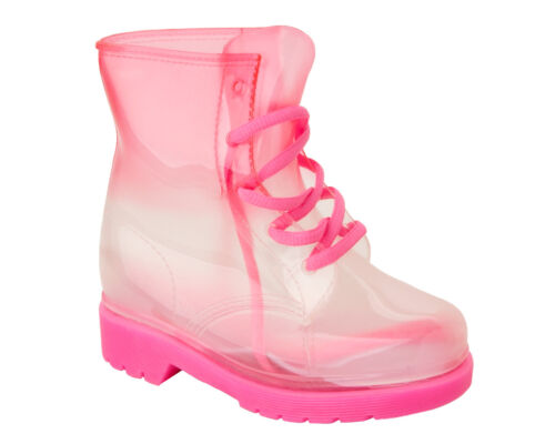 GIRLS PINK JELLY WELLINGTON RAIN LACE UP WATERPROOF WELLIES BOOTS UK SIZE 11-3