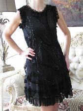RED VALENTINO Lace/Tulle,Embroidery Sequinned,Ruffled Dress It 42,US 4-6/Small