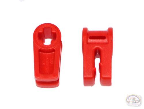 49283, EV3 2 x Wire Clip w// Axle Hole New - LEGO Technic Red