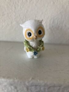 VINTAGE PORCELAIN CERAMIC OWL FIGURINE WHITE OWL WITH FLORAL LEI CUTE LOOK