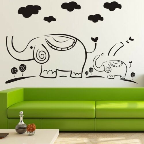 Two Elephants Cloud Wall Decor Removable Home Vinyl Decal Sticker Art Diy Mural