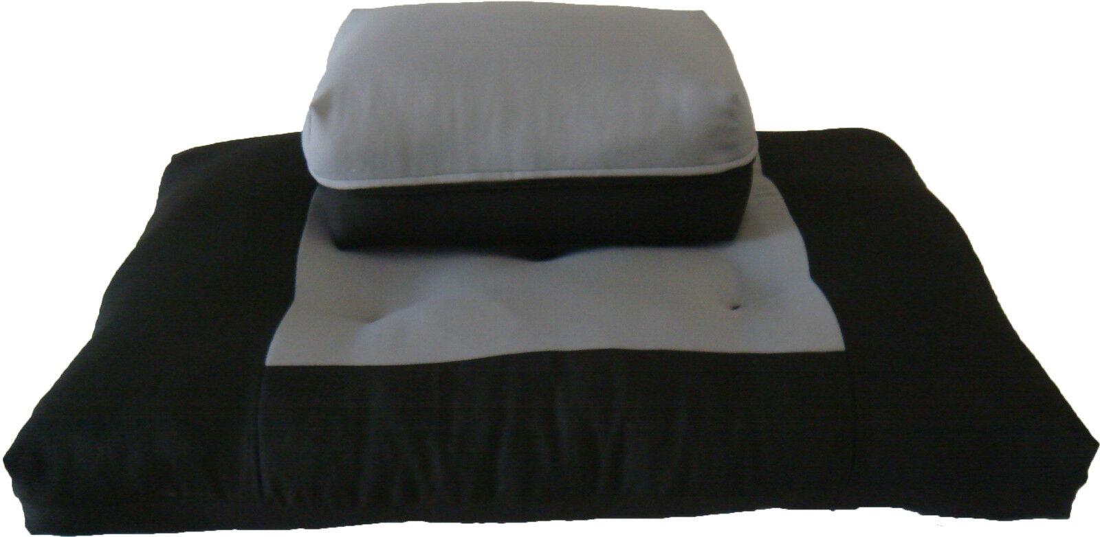 Zafu Zabuton Set, Relaxing Yoga Meditation Cotton Cushions, Mats Black/Gray