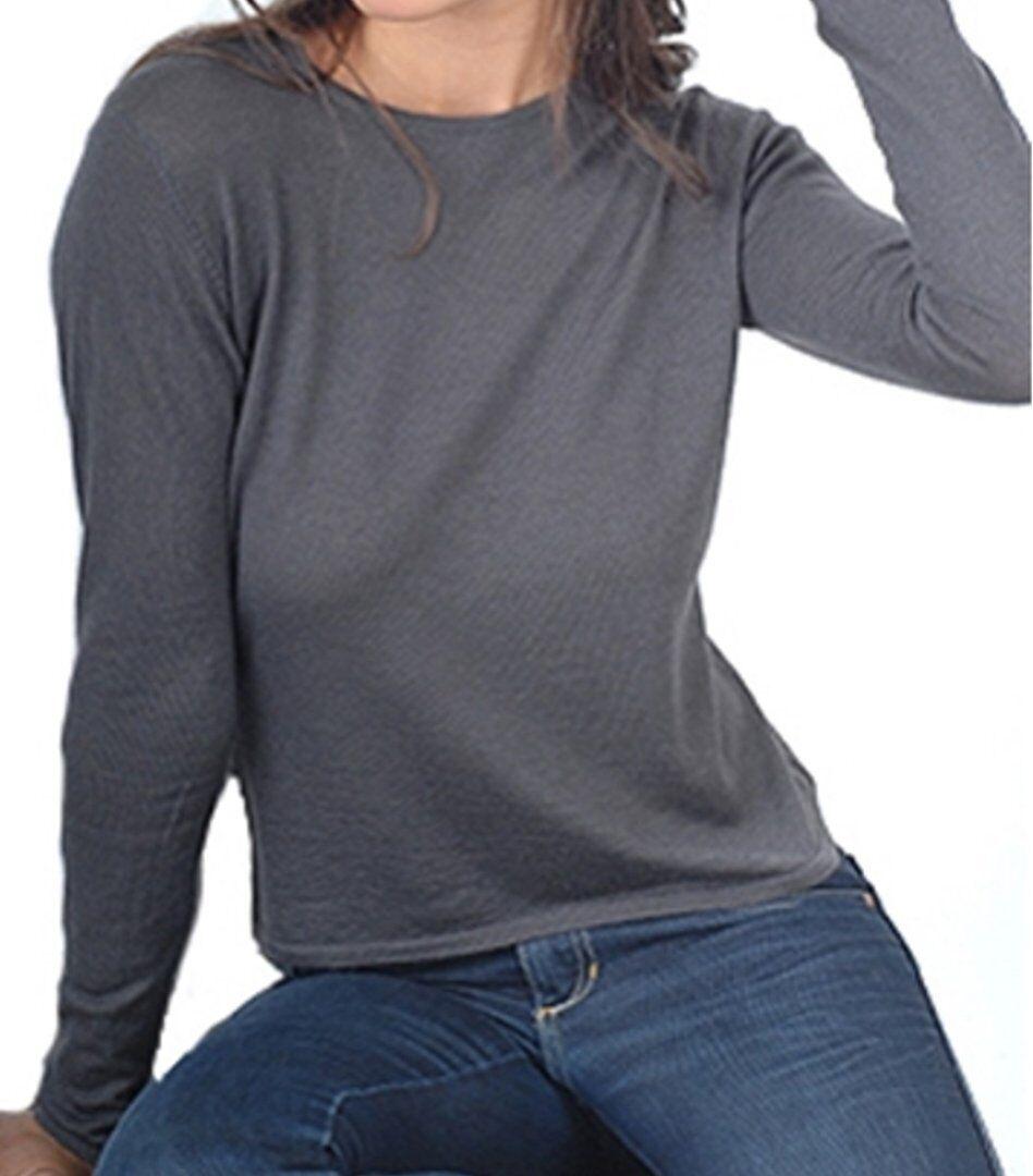 Balldiri 100% Cashmere Duvet Damen Pullover Rundhals 2-fädig anthrazit S