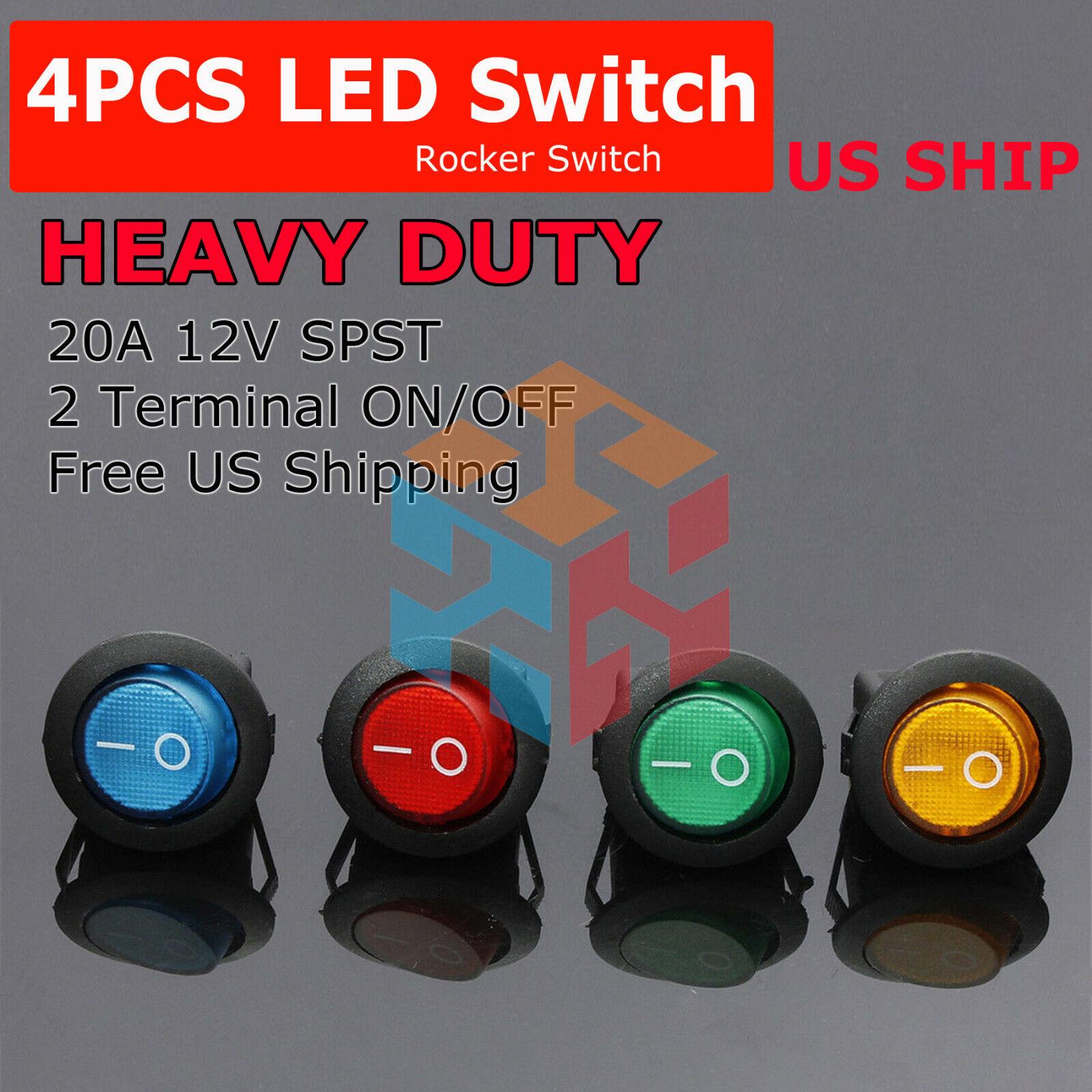 Set Of 10PCS 20A Car Round Rocker Dot Boat Red LED Light Toggle ON//OFF Switch
