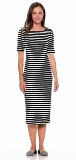 c5911356f931 NWT Old Navy Women s Black White Striped Fitted Tee Dress Size M short  sleeve