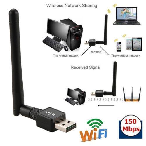 150M USB WIFI Wireless LAN Adapter Long Range 2dBi Antenna for Desktop Computer