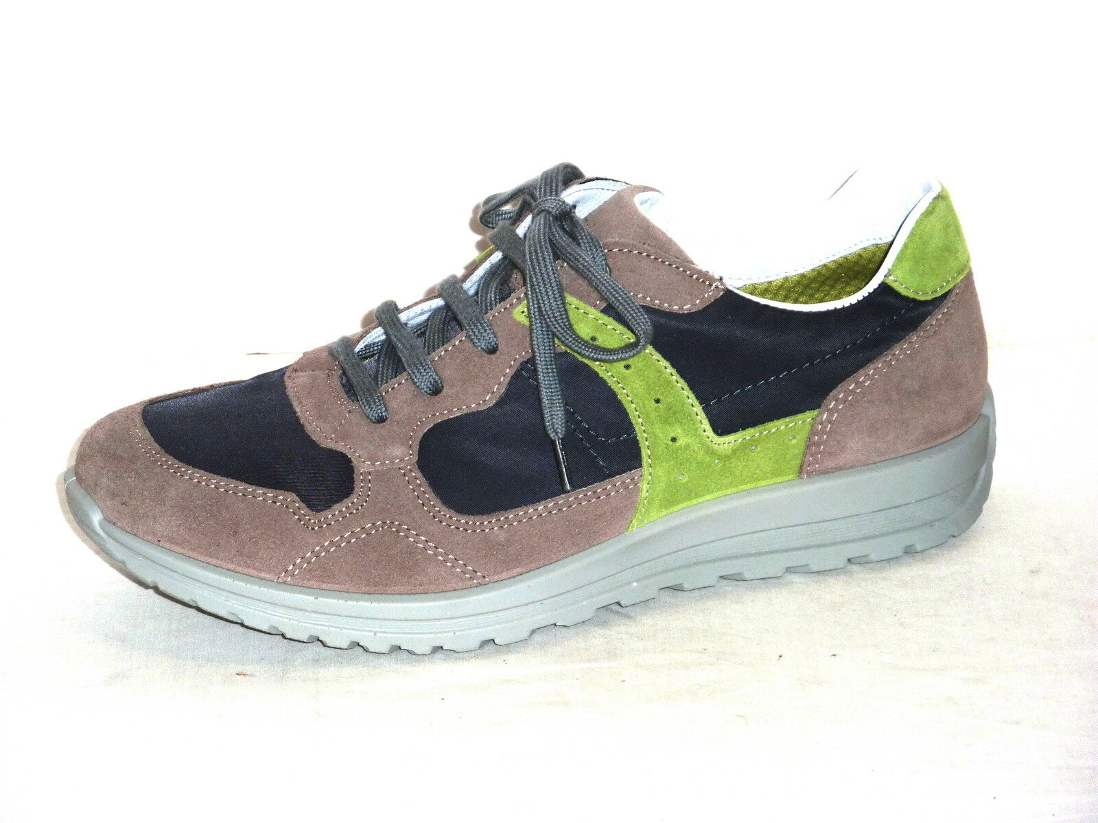 GRI SPORT shoes men CASUAL TENNIS TEMPO LIBERO ALLACCIATE NABUK BEIGE-NAVY  43