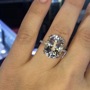 3.60 Karat Oval Diamant Verlobung Hochzeit Ring 14K Echt Weißgold Größe M N O P