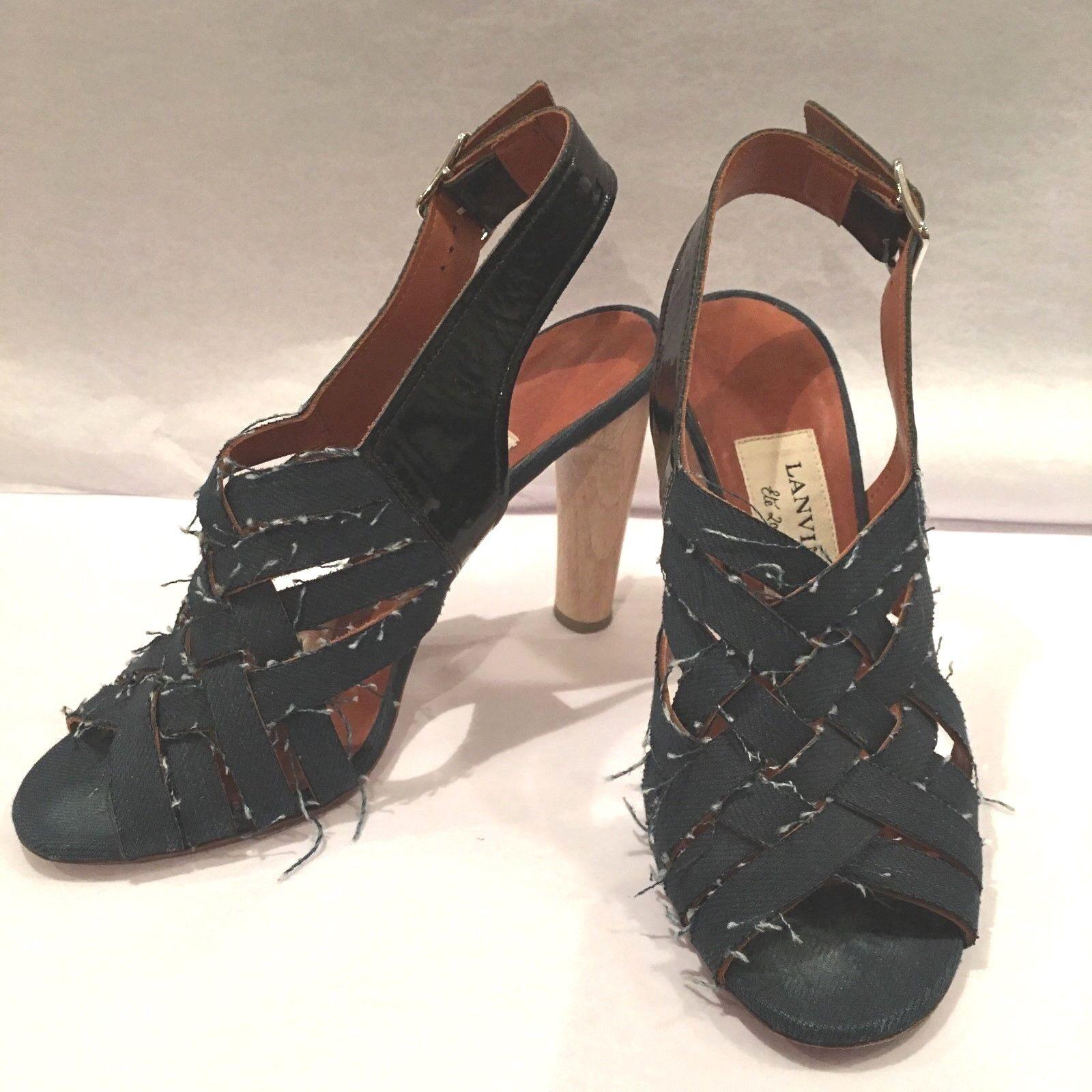 promozioni eccitanti 100% 100% 100% authentic Lanvin denim open toe heels, Dimensione 38  servizio onesto