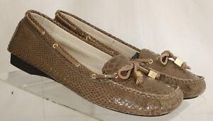 Michael-Kors-Brown-Snake-Print-Moc-Slip-On-Boat-Shoe-AD13F-Women-039-s-US-8-5-M