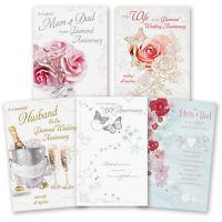 60th 60 Diamond Wedding Anniversary Greeting Card Mum & Dad Wife Husband