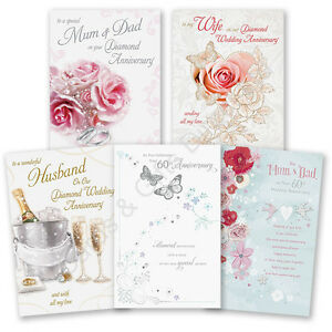60th 60 diamond wedding anniversary greeting card mum dad wife image is loading 60th 60 diamond wedding anniversary greeting card mum m4hsunfo