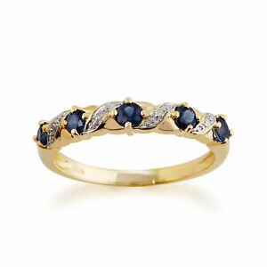 9ct-Yellow-Gold-0-55ct-Natural-Sapphire-amp-Diamond-Half-Eternity-Ring-Size