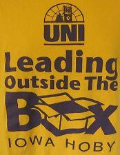 UNI Leading Outside the Box Iowa Hoby Hugh O'Brien Yellow T-Shirt Youth M