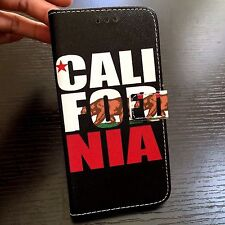 For iPhone 7+ PLUS - California CA Flag Bear Card Wallet Diary Pouch Case Cover