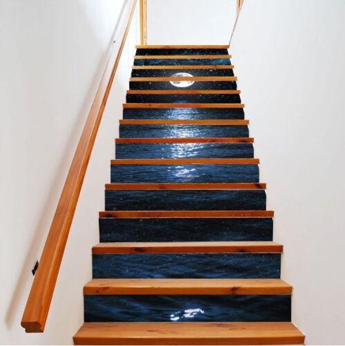 13PCS//set 3D Moonlight at Sea Self-adhesive Waterproof Stair Stickers Wall Mural
