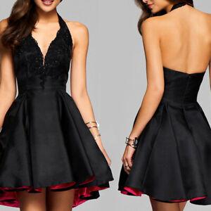 le prix reste stable commercialisable plus près de Détails sur Robe noire sexy pour femmes avec robe de soirée cocktail dos nu  sans manches