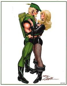Neal Adams SIGNED DC Comics JLA Super Hero Art Print ~ Green Arrow Black Canary