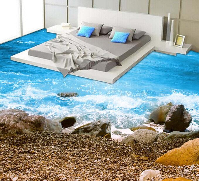 3D Stones Seacoast 63 Floor WallPaper Murals Wall Print 5D AJ WALLPAPER UK Lemon