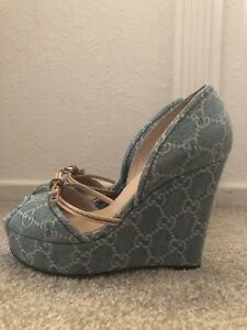 a8239f6a9437 Image is loading Gucci-Women-s-Shoes-Denim-Casual-Blue