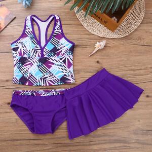 Kids-Girls-Tankini-Printed-Swimsuit-Swimwear-Bathing-Suit-Swimming-Skirt-3-Piece