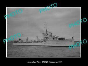 OLD-POSTCARD-SIZE-AUSTRALIAN-NAVY-PHOTO-OF-THE-HMAS-VOYAGER-SHIP-c1954