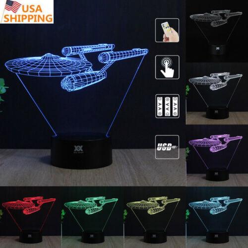Star Trek USS Enterprise 3D Acrylic LED Night Light 7Color Table Desk Lamp Gifts