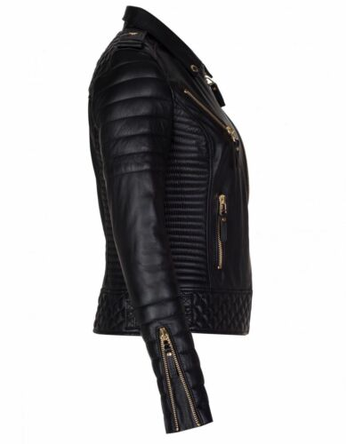 Women's Genuine Slim Leather Lambskin Jacket Fit Biker Motorcycle Designer SS1wrCq