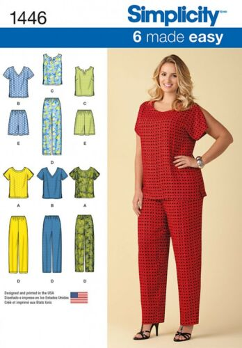 Simplicity Ladies Plus Sizes Easy Sewing Pattern 1446 Easy Pull on Tops Shor...