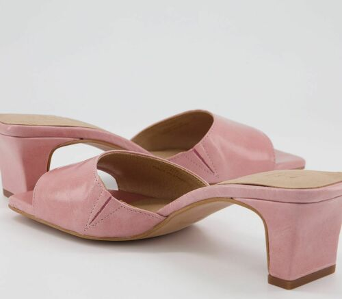 Womens Office Magna Low Heel Mules Pink Leather Heels
