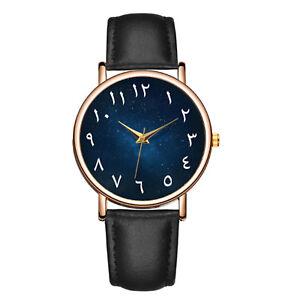 Maenner-Arabische-Ziffer-Uhr-mit-schwarzem-Lederband-Gold-Gesicht