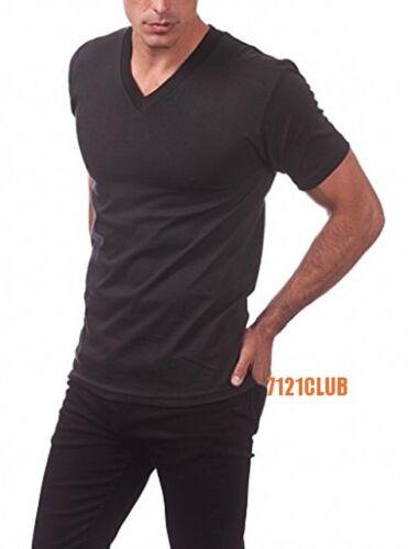 LOT 3 PRO CLUB MEN/'S V NECK T SHIRTS PROCLUB PLAIN BLACK PACK BIG AND TALL S-7XL