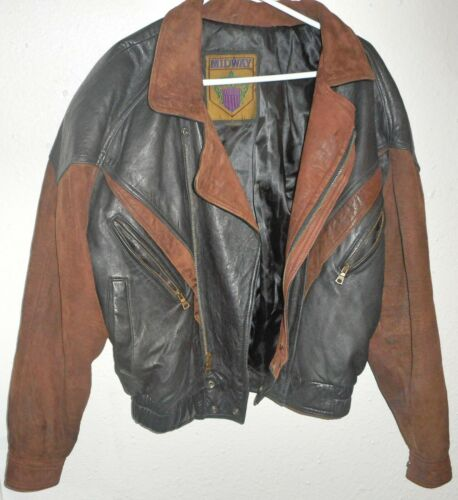MIDWAY Leather Motorcycle Jacket S Small Mens Vtg