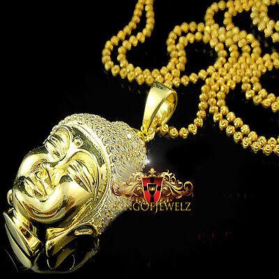 "Sterling Silver Lab Diamond Happy Jesus Pendant /& Chain In White Gold Finish 1/"""