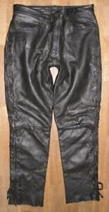 schwere-Herren-SCHNUR-LEDERJEANS-Biker-Lederhose-in-schwarz-ca-W35-034-L33-034