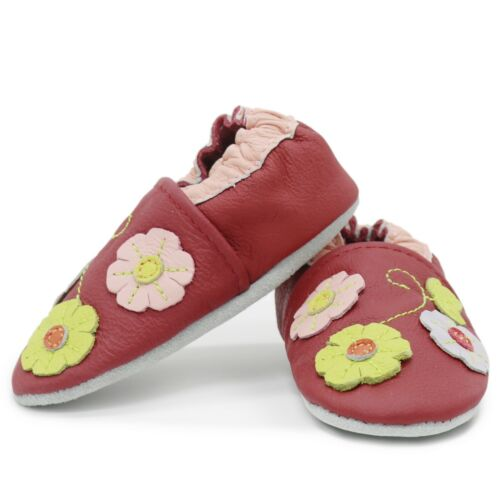 carozoo 3 flowers leaf dark red 18-24m soft sole leather baby shoes