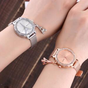 Reloj-de-Pulsera-mujeres-Moda-Reloj-de-Vidrio-Cristal-Torre-Eiffel-Acero-Inoxidable-Cuarzo