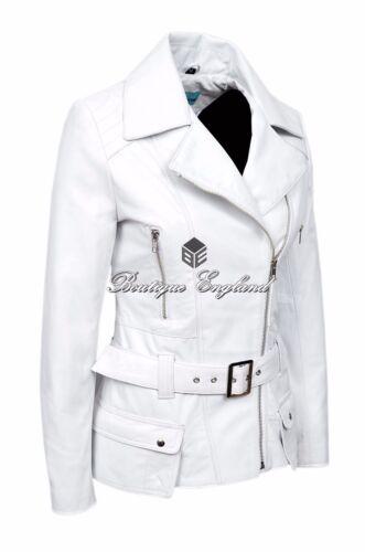 en 2812 réel à style pour la Veste 100 blanc mode cuir motard dames Fq7dPa1
