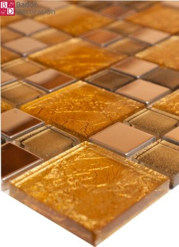 Mosaïque en Verre Carrelage Mosaique Acier Inoxydable 15x15cm or Argent
