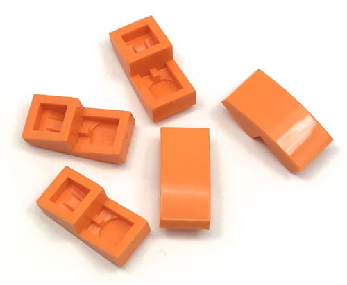 Lego 5 New Orange Slopes Sloped Curved 2 x 1 No Studs Pieces